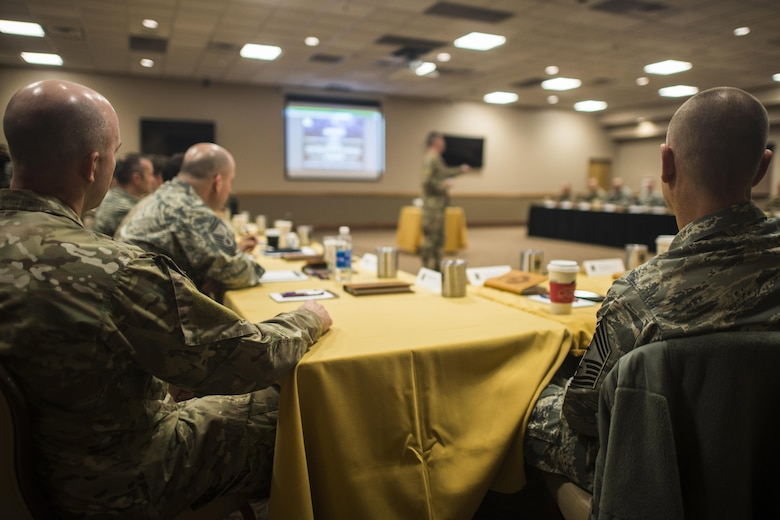 Attendees listen to a guest speaker during the Air Force Special Operations Command Chiefs Orientation course Feb. 7, 2017, at Cannon Air Force Base, N.M. Chiefs are the highest enlisted rank possible and make up about one percent of the enlisted population. (U.S. Air Force photo by Senior Airman Luke Kitterman/Released)