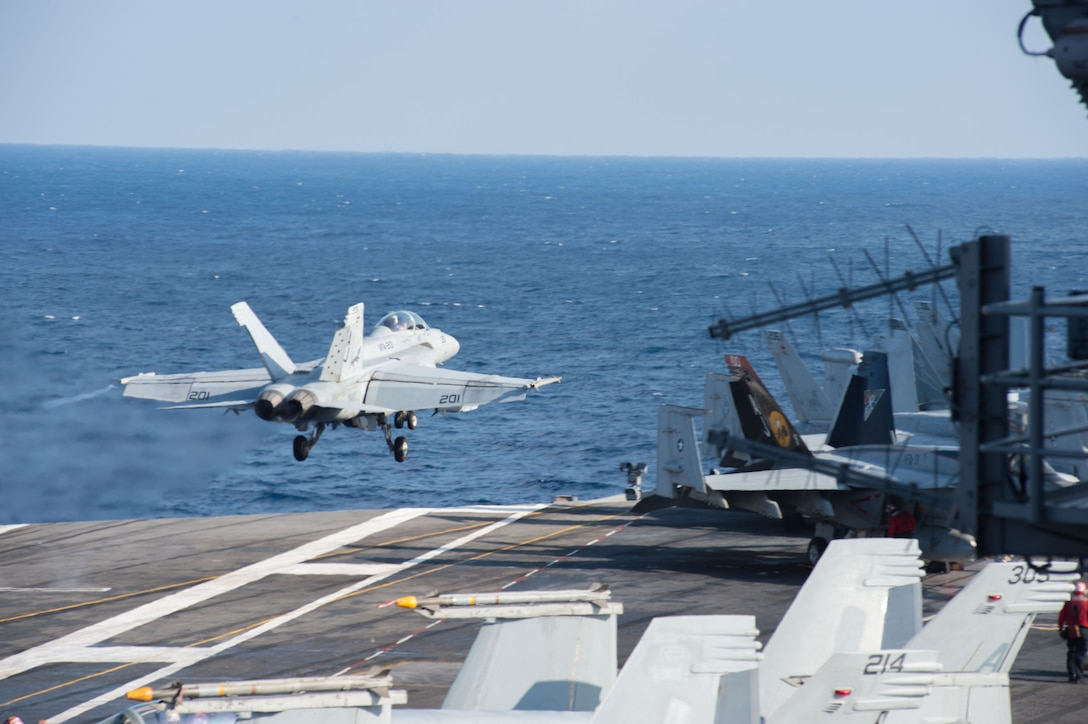"MEDITERRANEAN SEA (Feb. 13, 2017) An F/A-18F Super Hornet assigned to the ""Black Lions"" of Strike Fighter Squadron (VFA) 213 launches from the aircraft carrier USS George H.W. Bush (CVN 77) in support of Operation Inherent Resolve. The ship's carrier strike group is conducting naval operations in the U.S. 6th Fleet area of operations in support of U.S. national security interests. (U.S. Navy photo by Mass Communication Specialist 3rd Class Danny Ray Nunez Jr./Released)"