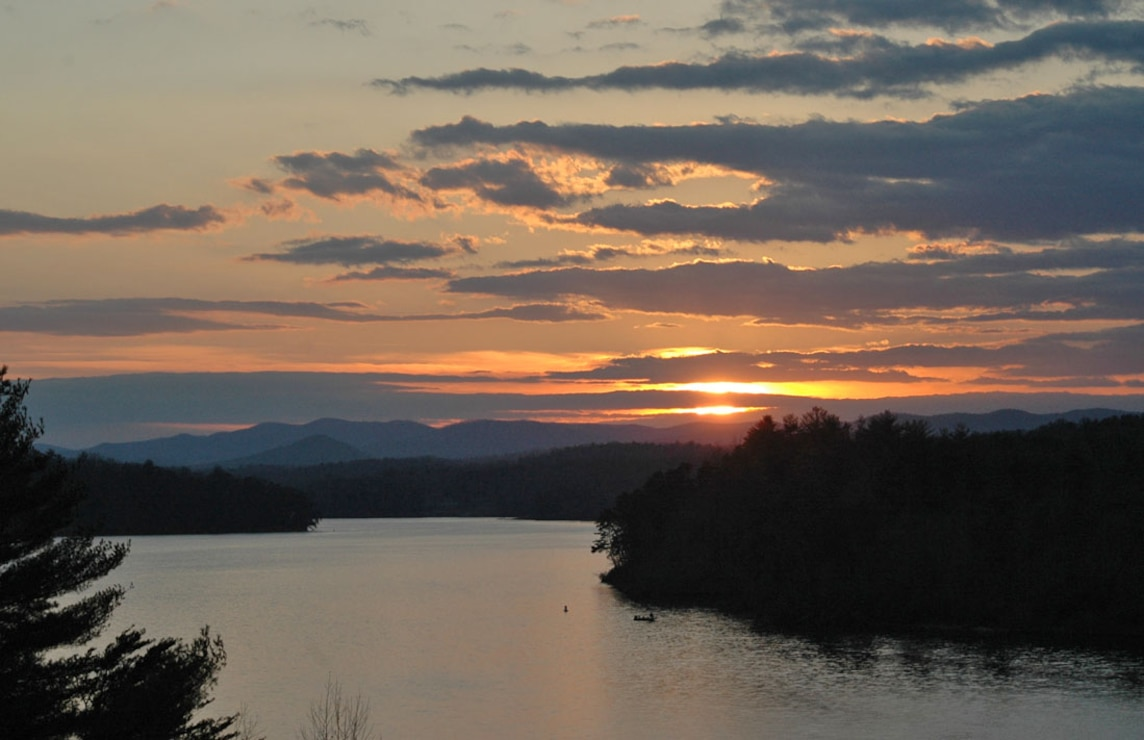 The sun sets at beautiful W. Kerr Scott Lake in Wilkesboro, North Carolina.