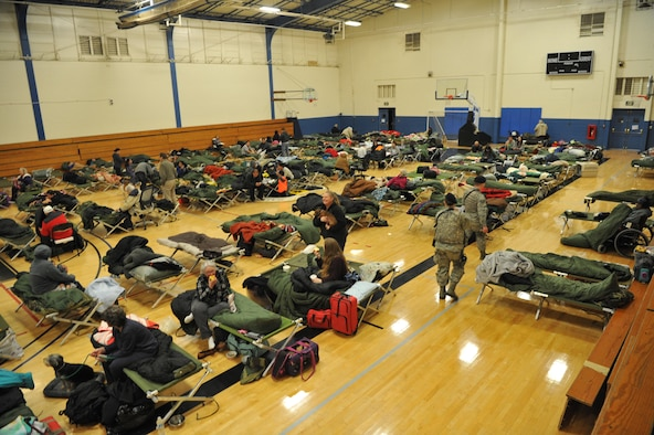 The 9th Reconnaissance Wing opened a shelter to provide those affected by the Oroville spillway evacuation notice at Beale Air Force Base, California, Feb. 13, 2017. Beale hosted approximately 400 evacuees from surrounding communities. (U.S. Air Force Photo/Airman Tristan D. Viglianco)