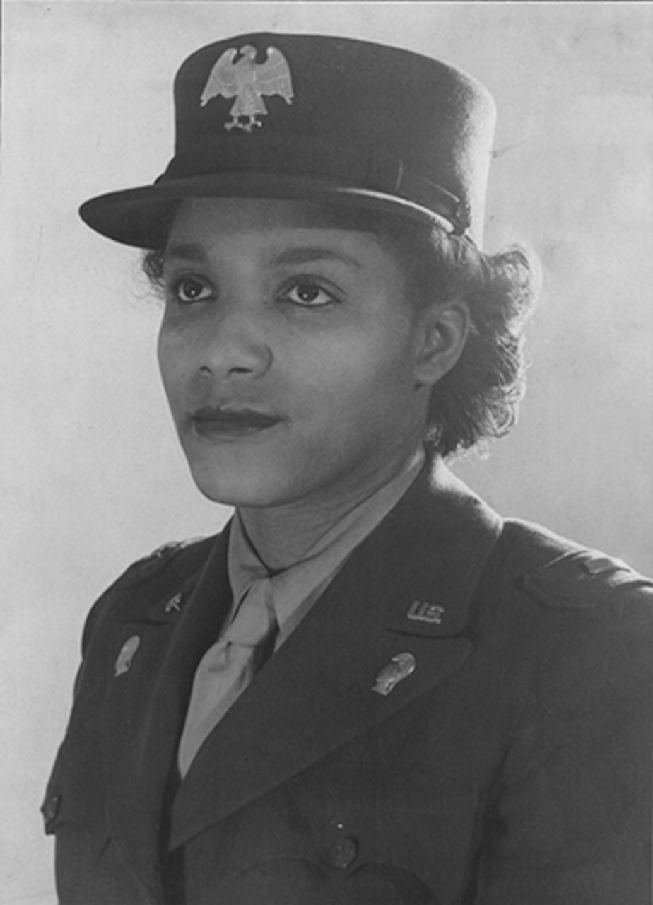 Women's Army Corps Second Officer Violet Hill poses after graduating from the first Women's Army Auxiliary Corps officer candidate school class at Fort Des Moines, Iowa, in August 1942. African-American women were allotted 40 slots in that first class, and they had to be well-educated and have professional experience. Later in the war, Hill served as a captain and commander of Company D, 6888th Central Postal Directory Battalion. Library of Congress photo