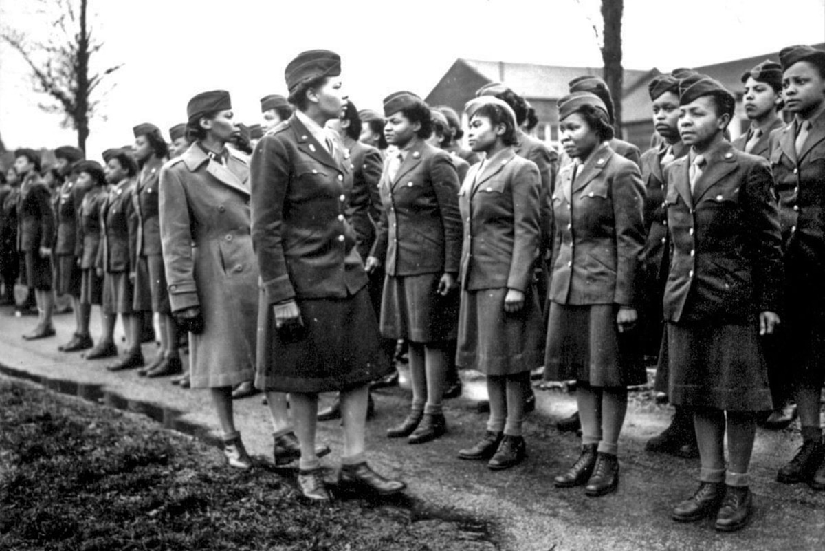 A historic photo of Women's Army Corps members.