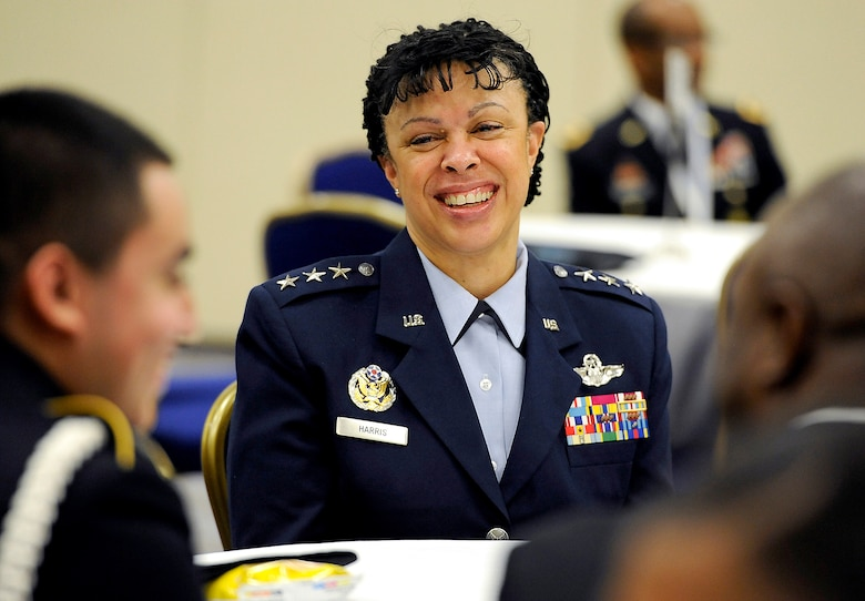 Lt. Gen. Stayce Harris, the Air Force assistant vice chief of staff, mentors high school students during the Black Engineer of the Year Awards Science, Technology, Engineering and Mathematics Conferences' Stars and Stripes ceremony Feb. 10, 2017, in Washington, D.C. (U.S. Air Force photo/Tech. Sgt. Robert Barnett)