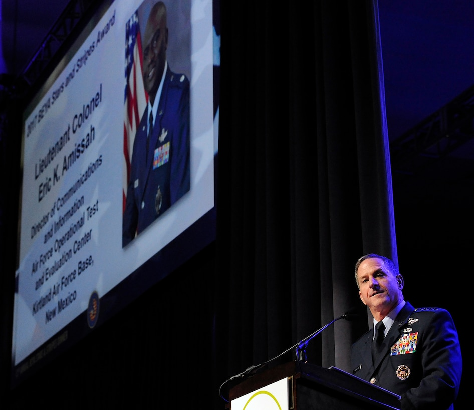 Air Force Chief of Staff Gen. David L. Goldfein speaks on the value of Airmen to the Air Force mission during the Black Engineer of the Year Awards Science, Technology, Engineering and Mathematics Conferences' Stars and Stripes ceremony Feb. 10, 2017, in Washington, D.C. (U.S. Air Force photo/Tech. Sgt. Robert Barnett)
