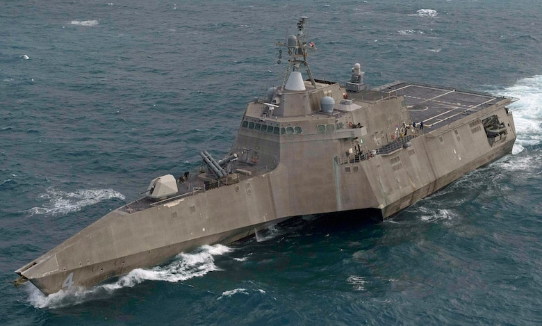 The littoral combat ship USS Coronado (LCS 4) transits the South China Sea during training, Feb. 12, 2017. Currently on a rotational deployment in support of the Asia-Pacific rebalance, Coronado is a fast and agile warship tailor-made to patrol the region's littorals and work hull-to-hull with partner navies, providing 7th Fleet with the flexible capabilities it needs now and in the future.