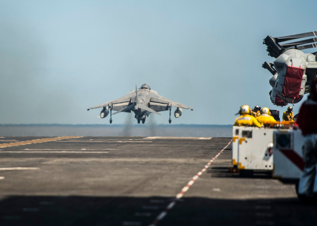 U.S. 5TH FLEET AREA OF OPERATIONS (Feb. 10, 2017) An AV-8B Harrier, assigned to the Ridge Runners of Marine Medium Tiltrotor Squadron (VMM) 163, launches from the flight deck of the amphibious assault ship USS Makin Island (LHD 8). Makin Island is deployed in the U.S. 5th Fleet area of operations in support of maritime security operations designed to reassure allies and partners, and preserve the freedom of navigation and the free flow of commerce in the region.  (U.S. Navy photo by Mass Communication Specialist 3rd Class Devin M. Langer/released)