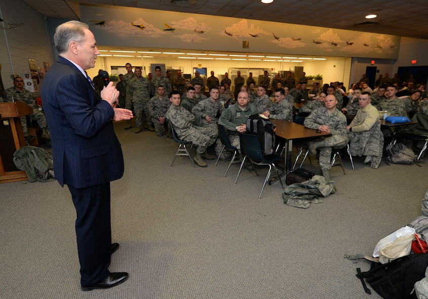 New Jersey Legislative District 2 Assemblyman Vincent Mazzeo speaks to New Jersey Air National Guardsmen with the 177th Fighter Wing, at the Atlantic City Air National Guard Base, prior to their deployment to Osan Air Base, Republic of Korea, in support of the U.S. Pacific Command Theater Security Package on Feb. 2, 2017.  (U.S. Air National Guard photo by Master Sgt. Andrew J. Moseley/Released)