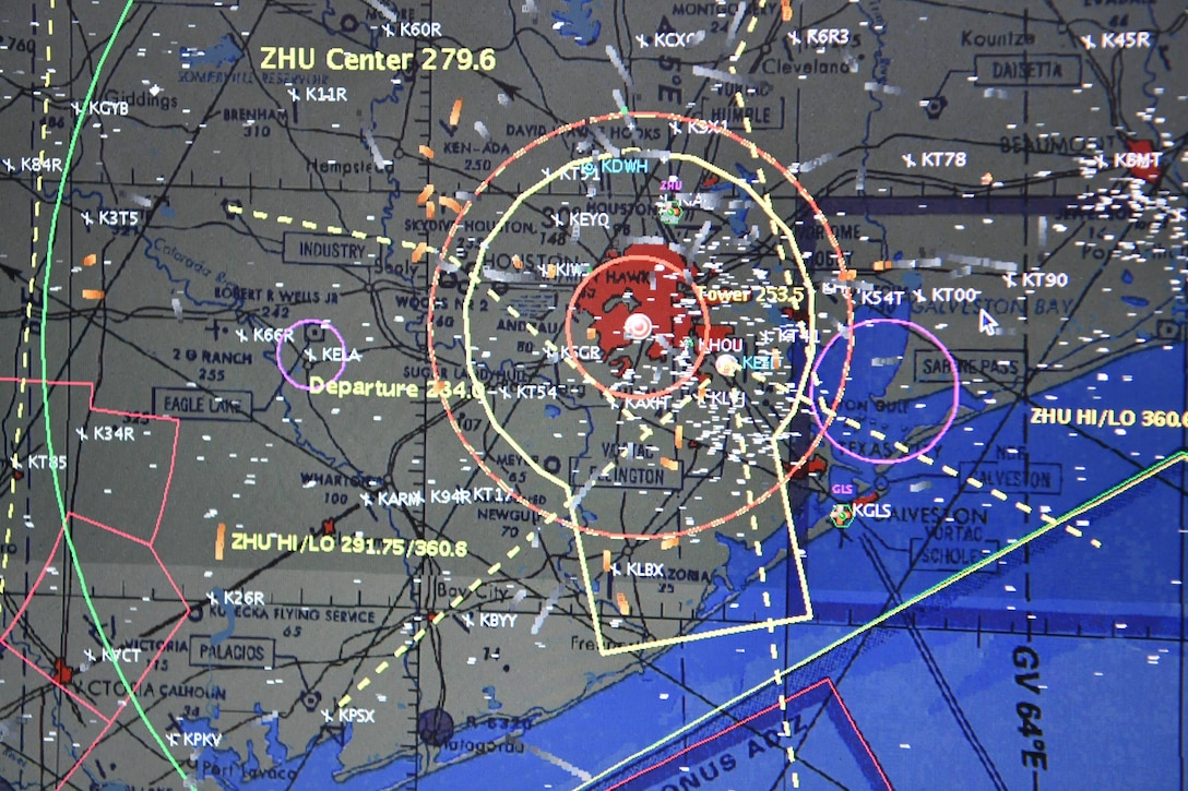 The Western Air Defense Sector's Battle Control System-Fixed illustrates the Federal Aviation Administration temporary 30-mile radius flight restricted area around NGR Stadium for Super Bowl LI. The BCS-F is a modern real-time battle management command and control system. Fielded at the North American Aerospace Defense Command's Air Defense Sectors, BCS-F provides NORAD commanders with a highly interoperable and reliable platform in support of the nation's homeland defense air mission. (U.S. Air Force photo by Kimberly D. Burke)