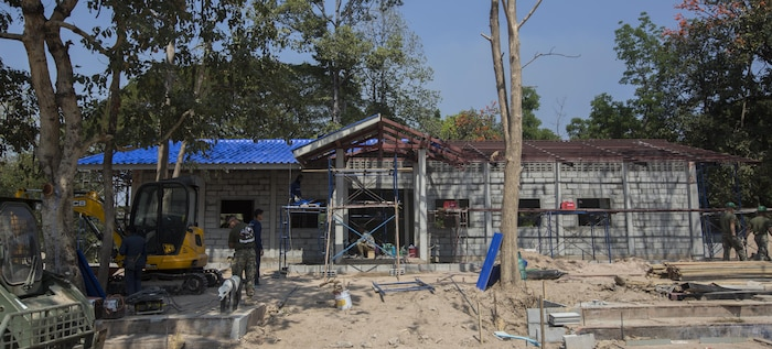 Service members from the United States, Thailand, and Malaysia, build a classroom at Ban Kok Kee San Toor, Khon Kaen Province, Thailand, during exercise Cobra Gold, Feb. 10, 2017. Cobra Gold, in its 36th iteration, focuses on humanitarian civic action, community engagement, and medical activities to support the needs and humanitarian interest of civilian populations around the region. (U.S. Marine Corps Combat Camera photo by Staff Sgt. Nathan O. Sotelo)