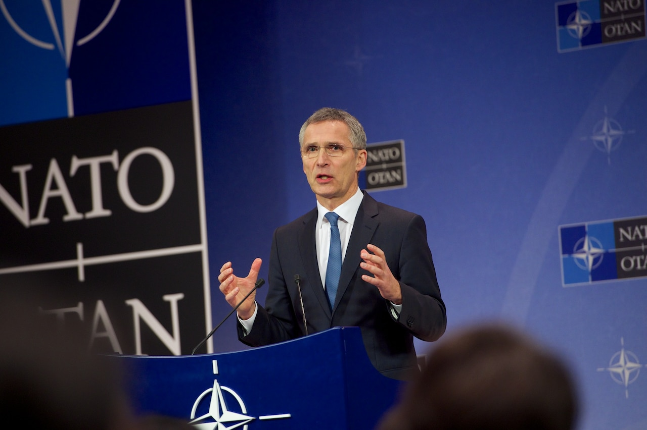 NATO Secretary General Jens Stoltenberg addresses reporters at NATO headquarters in Brussels, Feb. 14, 2017. Defense Secretary Jim Mattis and Stoltenberg are slated to attend a meeting of NATO defense ministers Feb. 15-16 in Brussels. NATO photo