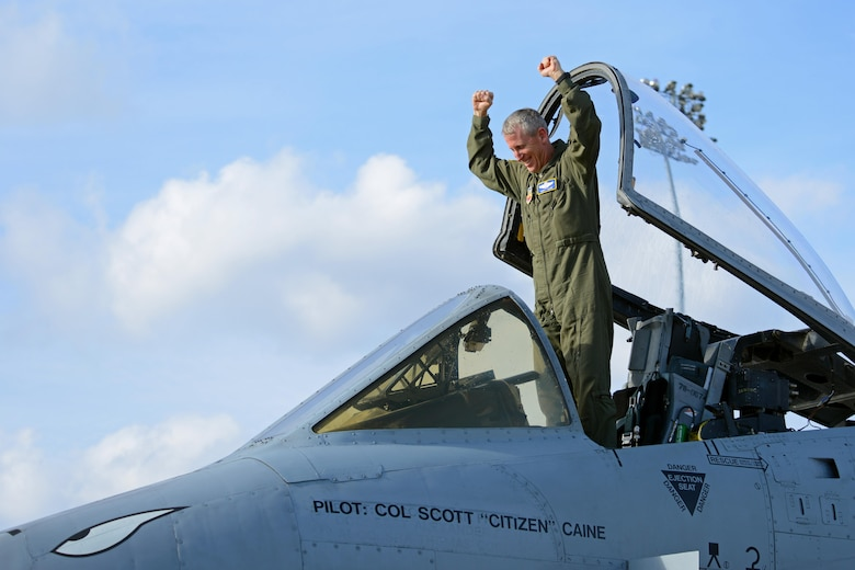 U.S. Air Force Col. Scott Caine, 9th Air Force vice commander, celebrates in an A-10C Thunderbolt II following the final flight of his Air Force career, Shaw Air Force Base, S.C., Feb. 8, 2017. Caine became the 9th AF vice commander in April 2012 after an assignment as the 9th AF director of operations. (U.S. Air Force photo by Airman 1st Class Kathryn R.C. Reaves)