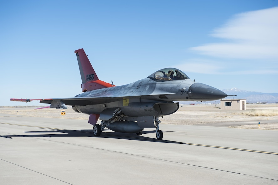 A QF-16 drone taxis back to the 82nd Aerial Targets Squadron, Det. 1 ramp, after its first flight at Holloman Air Force Base, N.M., Feb. 10, 2017. The QF-16 has been flying at Tyndall Air Force Base, Florida since late 2012. This was the first flight at Holloman since the QF-4 Phantom officially retired in 2016 and the detachment transitioned to flying QF-16s. (U.S. Air Force photo by Senior Airman Emily Kenney)