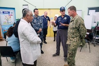 170209-N-YL073-250 PUERTO BARRIOS, Guatemala (Feb. 9, 2017) – Capt. Errin Armstrong (right), Mission Commander for Continuing Promise 2017 (CP-17), tours Hospital Infantil Elisa Martinez, the only pediatric hospital in Guatemala, in support of CP-17's visit to Puerto Barrios, Guatemala. CP-17 is a U.S. Southern Command-sponsored and U.S. Naval Forces Southern Command/U.S. 4th Fleet-conducted deployment to conduct civil-military operations including humanitarian assistance, training engagements, and medical, dental, and veterinary support in an effort to show U.S. support and commitment to Central and South America. (U.S. Navy photo by Mass Communication Specialist 2nd Class Shamira Purifoy)