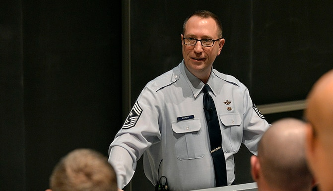 Chief Master Sgt. Robert Boyer, the command chief at the U.S. Air Force Academy, speaks to enlisted Airmen Jan. 31, 2017 at an all-call in Arnold Hall Theater. Boyer also hosted an all-call for enlisted Airmen at the Community Center Theater the same day. (U.S. Air Force photo/Jason Gutierrez)