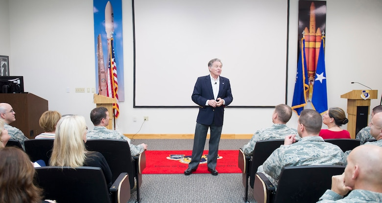 Lee Cockerell, speaks to Airmen about creating magic and leadership lessons during his visit to the Professional Development Center, Feb. 14, 2017, at Patrick Air Force Base, Fla. Cockerell also shared his leadership strategies and services to develop leaders and teams. (U.S. Air Force photo/Phil Sunkel)