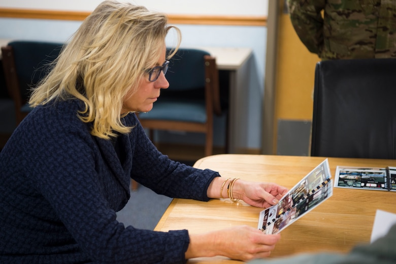 U.S. Rep. Liz Cheney receives a safety brief before departing on a 37th Helicopter Squadron UH-1N Huey at F.E. Warren Air Force Base, Wyo., Feb. 10, 2017. This was Cheney's second visit to F.E. Warren as a representative of Wyoming to familiarize herself with the 90th Missile Wing's mission. (U.S. Air Force photo by Staff Sgt. Christopher Ruano)
