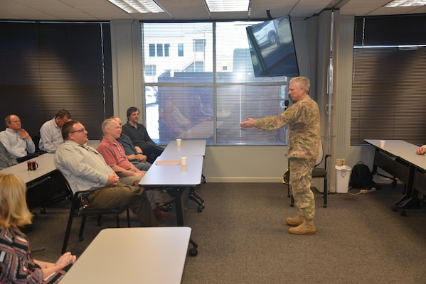 U.S. Army Corps of Engineers Deputy Commander Maj. Gen. Richard L. Stevens speaks to Mobile District employees during his visit at a town hall meeting held Feb. 10.