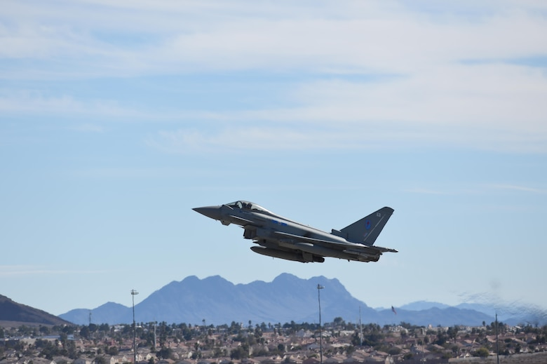 A Royal Air Force Eurofighter Typhoon takes off during Red Flag 17-1 at Nellis Air Force Base, Nev., Jan. 26, 2017. The Typhoon is a fourth-generation fighter aircraft that has conducted it's training missions at Red Flag with support from U.S. Air Force fifth-generation stealth fighter aircraft, the F-22 Raptor and F-35A Lightning II. (U.S Air Force photo by Staff Sgt. Natasha Stannard)