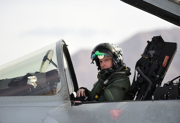 Royal Air Force Flight Lt. Jonny Mulhall, 6th Squadron Eurofighter Typhoon pilot, prepares the cockpit for take-off during Red Flag 17-1 at Nellis Air Force Base, Nev., Feb. 7, 2017.The Typhoon trained alongside the F-35A Lightning II for the first time at Red Flag preparing the RAF pilots for the introduction of the F-35B to the Royal Air Force and Navy. (U.S Air Force photo by Staff Sgt. Natasha Stannard)