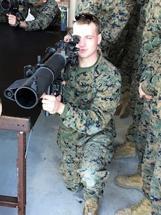 On January 13, 2017  Second Lieutenant Robert Miller, a Marine attached to Combat Engineer Officer course 1-17 (CEO 1-17); familiarizes himself with the MK 153 MOD 0 Shoulder Launched Multi-purpose Assault Weapon (SMAW). The SMAW is primarily employed against buildings, bunkers, field fortifications, armed vehicles, and other hard and soft targets.