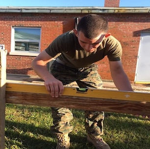 On October 20, 2016 Second Lieutenant Jonathan Neltner, a Marine attached to Combat Engineer Officer course 1-17 (CEO 1-17); levels the batter boards of a building layout. Batter boards are a temporary framework used to assist in locating corners when laying out a foundation. They support the building lines during the early stages of construction and are used as reference points.