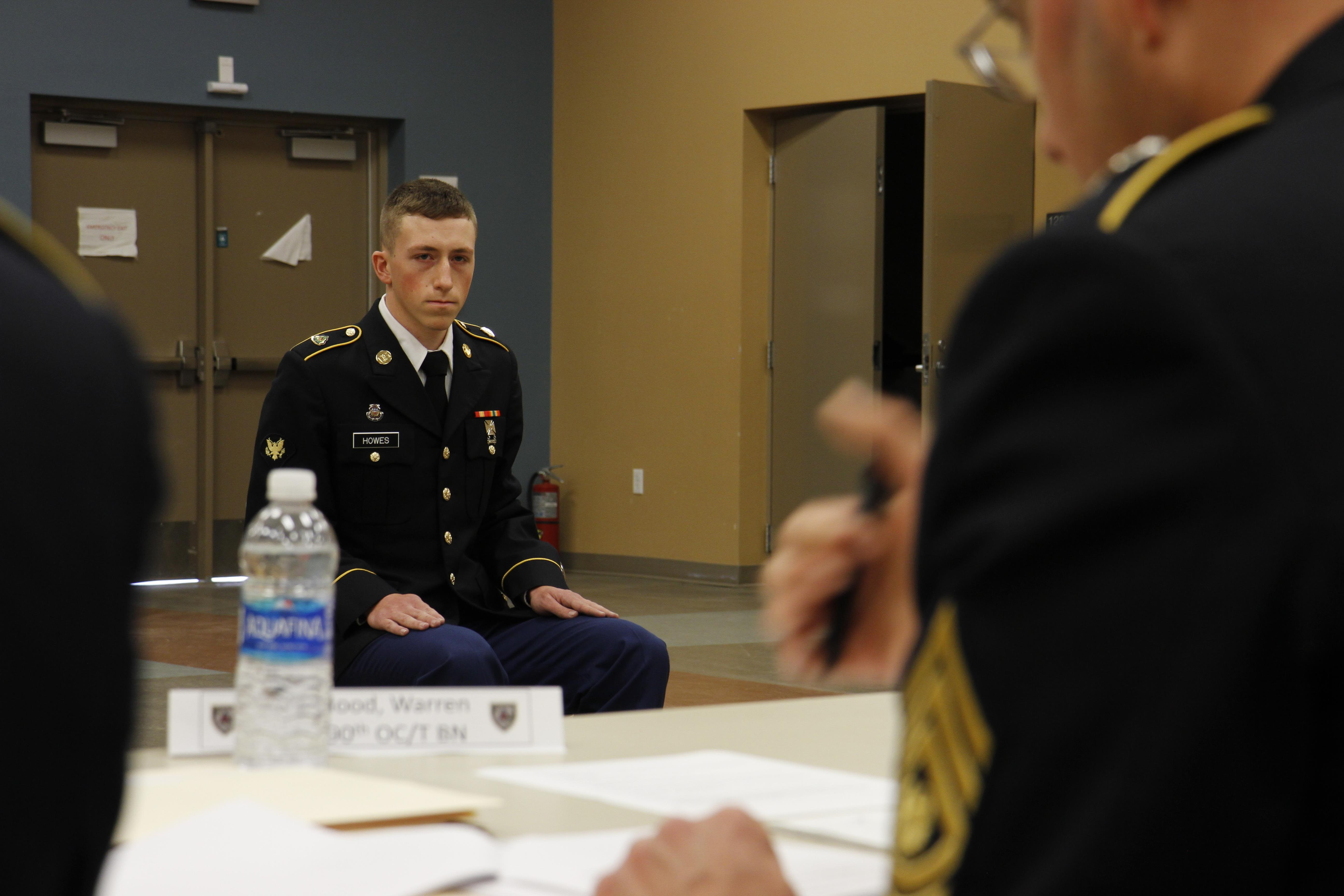 US Army Spc Jordan Howes Of The 2 378th 91st Training Division Listens