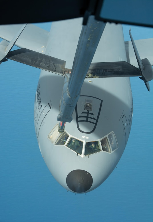 Aircrews from the 79th Air Refuleing Squadron executed multiple KC-10 to KC-10 refuelings over the West Coast, Feb. 12, 2017. The tanker crews were taking part in exercise Patriot Wyvern, the 349th Air Mobility Wing's periodic training exercise developed to grow and strengthen primary job skills of Citizen Airmen. (U.S. Air Force photo by Senior Airman Chris Massey)