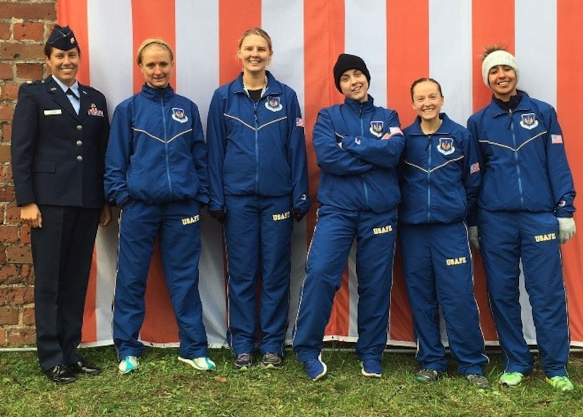 The U.S. Air Force women's cross-country team poses for a photo Oct. 27th, 2016, at the NATO Headquarters Allied Air Command Inter-Nation Cross-Country Championships in Malbork, Poland. The women's cross-country team finished in second place, however, the U.S. took first place in the overall competition of tennis, volleyball, cross-country and swimming. (Courtesy photo)