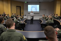 Robert Cardillo, the director of the National Geospatial-Intelligence Agency, speaks to cadets in Fairchild Hall Feb. 10, 2017 at the U.S. Air Force Academy. (U.S. Air Force photo/Jason Gutierrez)