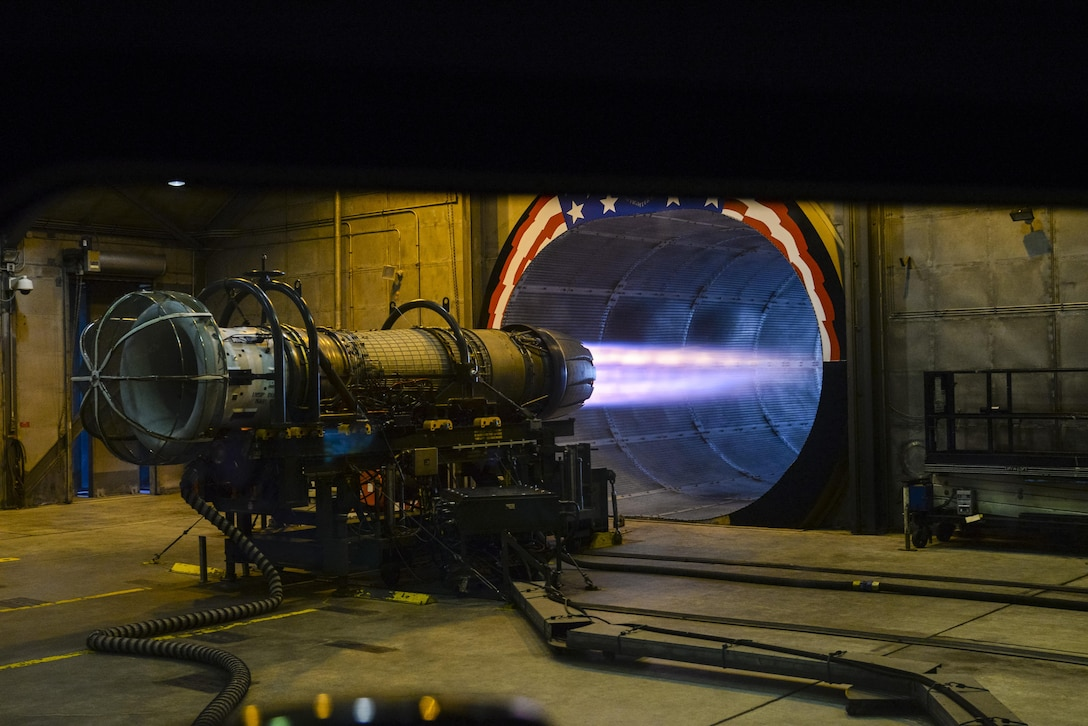 "A gas turbine engine from a U.S. Air Force F-16C Fighting Falcon, assigned to the New Jersey Air National Guard's 177th Fighter Wing at the Atlantic City Air National Guard Base in Egg Harbor Township, N.J., is tested at full afterburner in the engine test cell facility, also known as the ""Hush House"" on Jan. 31, 2017. The General Electric F110-GE-100 turbofan, produces close to 29,000 pounds of static thrust in afterburner, which can propel the Fighting Falcon to approximately twice the speed of sound. (U.S. Air National Guard photo by Master Sgt. Andrew J. Moseley/Released)"