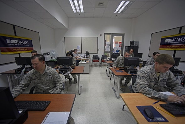 "Personnel stationed at Al Udeid Air Base, Qatar, take tests during a ""CLEP-a-thon,"" Feb. 11, 2017. The CLEP-a-thon was a testing marathon during which service members took DANTES Subject Standardized Test exams and College Level Examination Program tests.  (U.S. Air Force photo by Senior Airman Cynthia A. Innocenti)"
