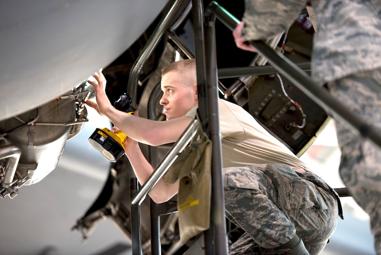 Airman First Class Josiah Evans, an aerospace propulsion journeyman, works on a C-17 Globemaster III aircraft engine, as part of a home station check, Feb. 4, at the 167th Airlift Wing. The wing's aircraft maintainers are key to keeping pace with the operations tempo.