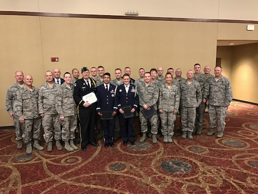 Members of the 185th Air Refueling Wing in Sioux City, Iowa were recognized for their efforts over the past year at an awards ceremony during February drill. Also present was Mr. Gerald Pallesen with the VFW who has sounded Taps at numerous funerals along side the 185th Honor Guard. (Official U.S.Air National Guard photo by Lt. Trish Thiesen/Released)