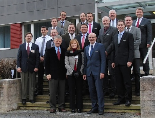 ERDC executives visited the Bundeswehr Research Institute for Materials, Fuels and Lubricants in Erding, Germany.  From left to right are Capt. D. Swanson, Air Force ESEP to WIWeB, ERDC Deputy Director Dr. David Pittman and Dr. Andy Martin, EL and EL Director Dr. Beth Fleming; Professor Dr. H. Ortner, WIWeB, M. Griffin, AMARDEC ESEP to WIWeB, Dr. E. Schneider, WIWeB; James Davis, GSL, GSL Director Bart Durst; RDECOM-ATL Technical Director Ed Pontiatowski; WIWeB Director Professor Dr. H Meier, ERDC International Research Office Director Dr. Russell Harmon; and Gernot Löwenstein, BAAINBw.