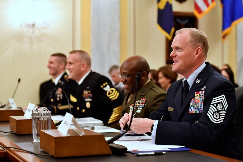 Chief Master Sgt. of the Air Force James A. Cody testifies before the Senate Armed Services Subcommittee on Personnel in Washington, D.C., Feb. 14, 2017. In his comments, Cody talked about compensation and growing the force.  This is the last Congressional hearing for Cody before he retires from the Air Force.  (U.S. Air Force photo/Scott M. Ash)