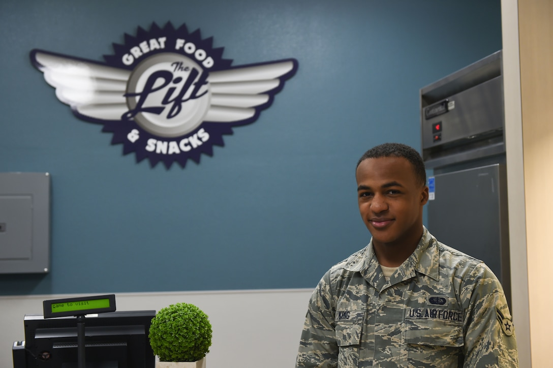 U.S. Air Force Airman 1st Class Malik King, 7th Force Support Squadron food service apprentice, stands in The Lift at Dyess Air Force Base, Texas, Feb. 8, 2017. The Lift is a flight kitchen located just inside a hangar off the Dyess flightline. Its purpose is to provide maintainers and aircrew, who may not have time to go to the Longhorn Dining Facility, with access to hot meals and snacks. (U.S. Air Force photo by Airman 1st Class Quay Drawdy)