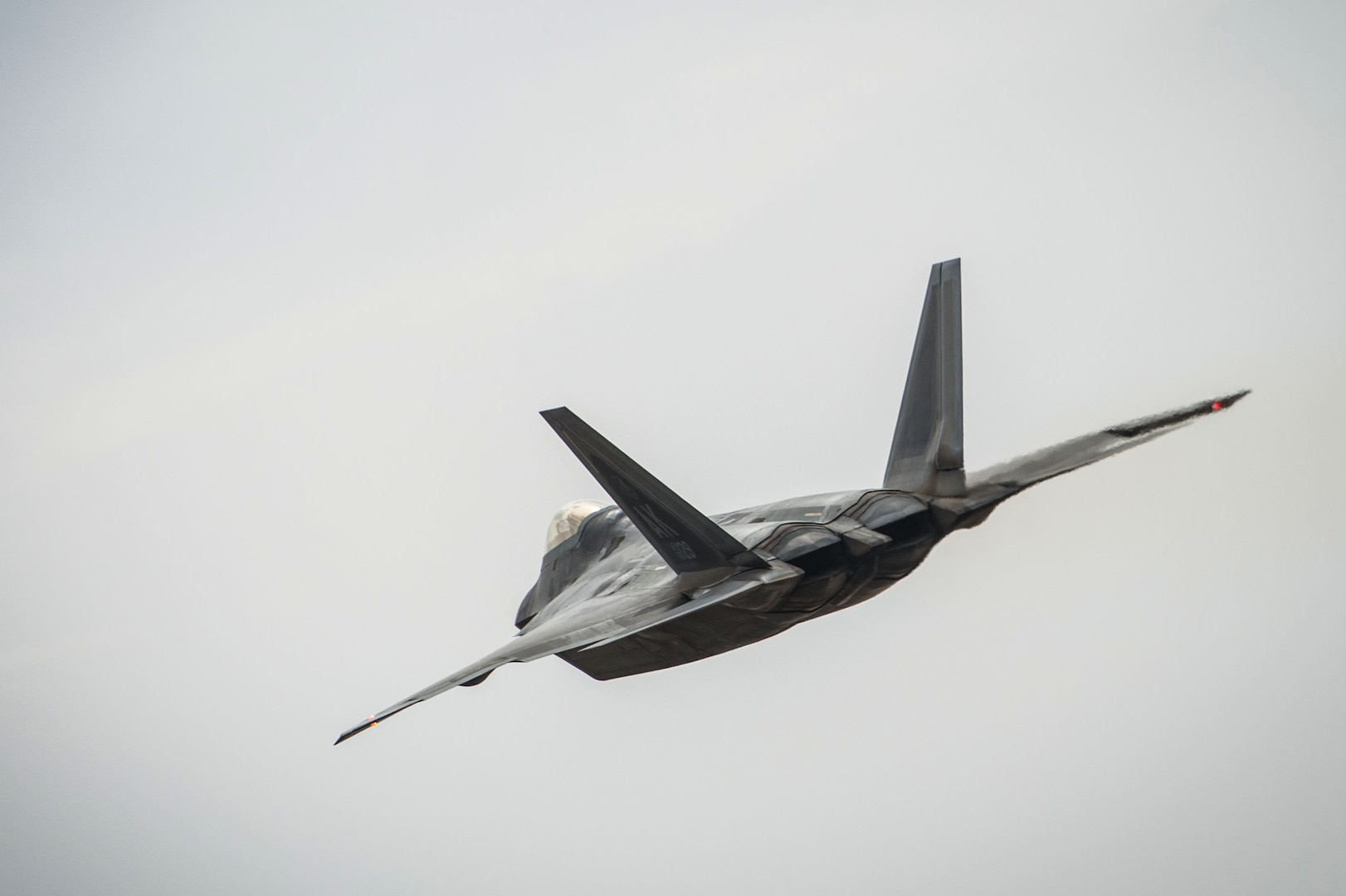 An F-22 Raptor launches a sortie in support of Combined Joint Task Force-Operation Inherent Resolve from an undisclosed location in Southwest Asia, Feb. 14, 2017. F-22s have provided close air support and precision guided strikes in an effort to weaken and destroy Islamic State in Iraq and the Levant operations in the Middle East region and around the world. (U.S. Air Force photo/Senior Airman Tyler Woodward)