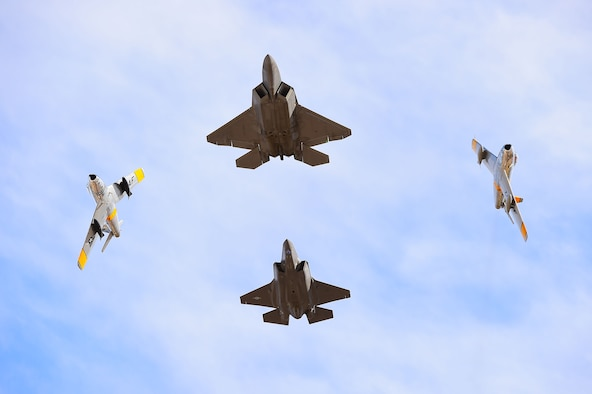 An F-22 Raptor leads a formation during the 2017 Heritage Flight Training and Certification Course at Davis-Monthan Air Force Base, Ariz., Feb 12, 2017. The Heritage Flight course celebrated its 20th active year providing the opportunity for civilian pilots to fly with U.S. Air Force pilots, to prepare them for this year's upcoming air shows. (U.S. Air Force photo by Senior Airman Kimberly Nagle)