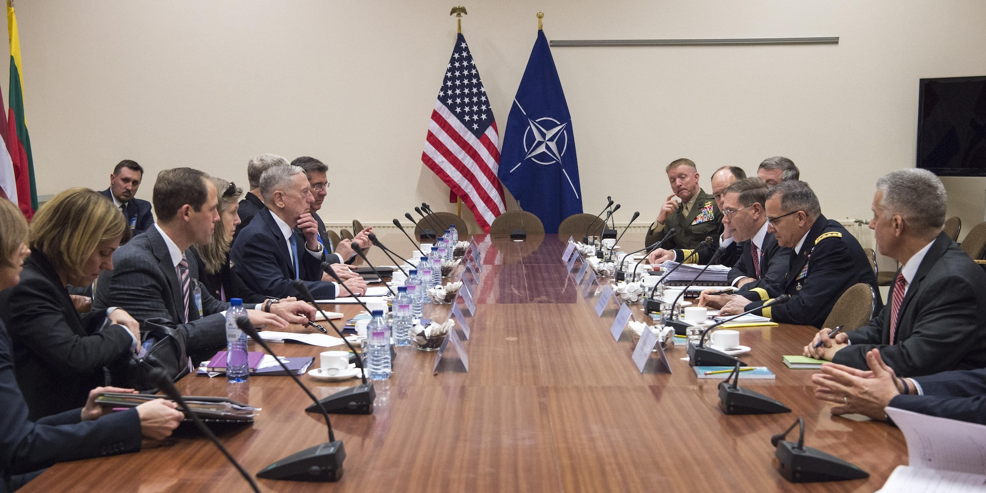 Defense Secretary Jim Mattis meets with members of the U.S. mission at NATO headquarters in Brussels, Feb. 15, 2017. DoD photo by U.S. Air Force Tech. Sgt. Brigitte N. Brantley