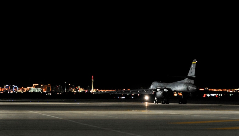 A B-1B Lancer assigned to the 34th Bomb Squadron, Ellsworth Air Force Base, S.D., taxis to participate in night operations during Red Flag 17-1 on Nellis Air Force Base, Nev., Jan. 25, 2017. Night mission have been integrated into Red Flag to prepare aircrews for missions in low-light environments. (U.S. Air Force photo by Airman 1st Class Kevin Tanenbaum/Released)