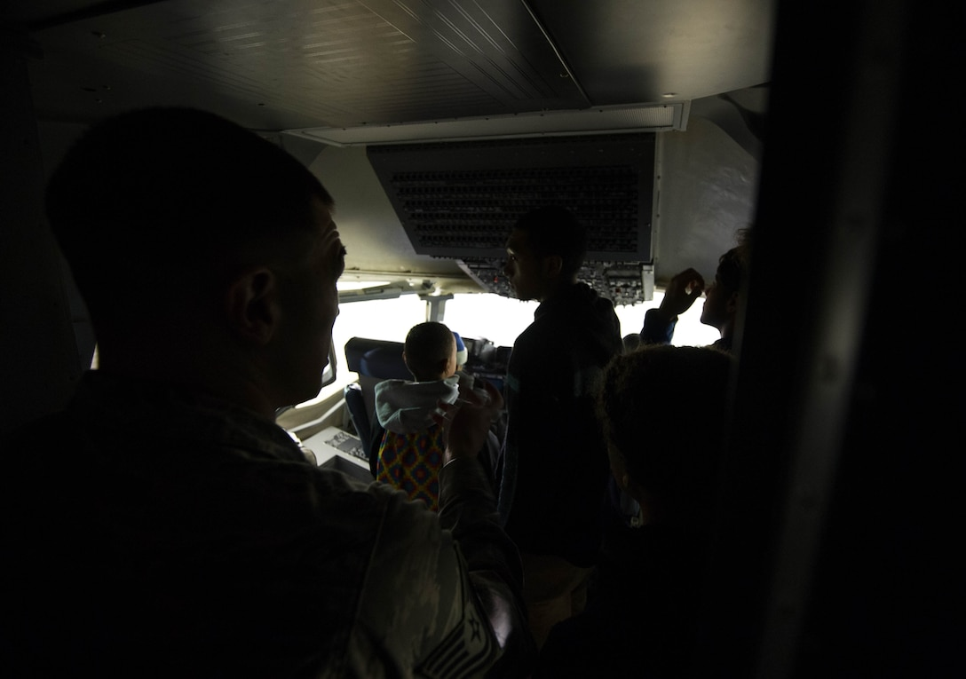 The Red-Tailed Hawks Flying Club tours the C-17 Maintenance Training Facility Feb. 11, 2017, on Joint Base Lewis-McChord, Wash. The Red-Tailed Hawks Flying Club is a non-profit youth organization chartered by the Black Pilots of America. (U.S. Air Force photo by David L. Yost)