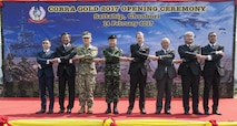 U.S. Pacific Command Commander Adm. Harry Harris, Thai Chief of Defence Forces Gen. Surapong Suwana-adth and U.S. Ambassador to the Kingdom of Thailand Glyn Davies, along with multinational representatives pose for a photo during the official opening ceremony of Cobra Gold 2017. Cobra Gold, in its 36th iteration, is the largest Theater Security Cooperation exercise in the Indo-Asia-Pacific. This year's focus is to advance regional security and ensure effective responses to regional crises by bringing together a robust multinational force to address shared goals and security commitments in the Indo-Asia-Pacific region. (U.S. Navy photo by Mass Communication Specialist 2nd Class Markus Castaneda/Released)