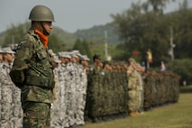Royal Thai and U.S. Armed Forces rehearse for the Exercise Cobra Gold 17 opening ceremony at Sattahip, Thailand, February 13. The official opening ceremony for Cobra Gold 17 is slated for Tuesday, February 14. Cobra Gold is the largest Theater Security Cooperation exercise in the Indo-Asia-Pacific region and is an integral part of the U.S. commitment to strengthen engagement in the region. (U.S. Marine Corps photo by Cpl. Steven Tran)