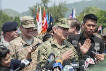UTAPAO, Thailand (Feb. 14, 2017) – U.S. Pacific Command Commander Adm. Harry Harris answers questions from media at a press conference during the official opening ceremony of Cobra Gold 2017. Cobra Gold, in its 36th iteration, is the largest Theater Security Cooperation exercise in the Indo-Asia-Pacific. This year's focus is to advance regional security and ensure effective responses to regional crises by bringing together a robust multinational force to address shared goals and security commitments in the Indo-Asia-Pacific region. (U.S. Navy photo by Mass Communication Specialist 2nd Class Markus Castaneda/Released)