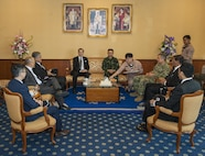 UTAPAO, Thailand (Feb. 14, 2017) – Multinational leaders and representatives gather in a conference room at the Royal Thai Naval Air Division base prior to attending the official opening ceremony of Cobra Gold 2017. Cobra Gold, in its 36th iteration, is the largest Theater Security Cooperation exercise in the Indo-Asia-Pacific. This year's focus is to advance regional security and ensure effective responses to regional crises by bringing together a robust multinational force to address shared goals and security commitments in the Indo-Asia-Pacific region. (U.S. Navy photo by Mass Communication Specialist 2nd Class Markus Castaneda/Released)