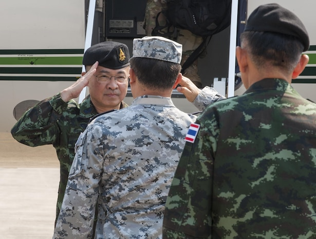 UTAPAO, Thailand (Feb. 14, 2017) – Thai Chief of Defence Forces Gen. Surapong Suwana-adth, returns a salute from Thai military officials during his arrival at Utapao Royal Thai Naval Air Division flight line for the official opening ceremony of Cobra Gold 2017. Cobra Gold, in its 36th iteration, is the largest Theater Security Cooperation exercise in the Indo-Asia-Pacific. This year's focus is to advance regional security and ensure effective responses to regional crises by bringing together a robust multinational force to address shared goals and security commitments in the Indo-Asia-Pacific region. (U.S. Navy photo by Mass Communication Specialist 2nd Class Markus Castaneda/Released)