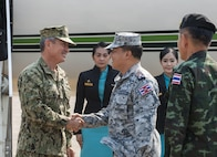 UTAPAO, Thailand (Feb. 14, 2017) – U.S. Pacific Command Commander, Adm. Harry Harris greets Thai military officials upon his arrival at the Utapao Royal Thai Naval Air Division flight line for the official opening ceremony of Cobra Gold 2017. Cobra Gold, in its 36th iteration, is the largest Theater Security Cooperation exercise in the Indo-Asia-Pacific. This year's focus is to advance regional security and ensure effective responses to regional crises by bringing together a robust multinational force to address shared goals and security commitments in the Indo-Asia-Pacific region. (U.S. Navy photo by Mass Communication Specialist 2nd Class Markus Castaneda/Released)