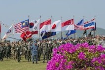 UTAPAO, Thailand (Feb. 14, 2017) – Multi-National Forces stand in formation during the official opening ceremony of Cobra Gold 2017. Cobra Gold, in its 36th iteration, is the largest Theater Security Cooperation exercise in the Indo-Asia-Pacific. This year's focus is to advance regional security and ensure effective responses to regional crises by bringing together a robust multinational force to address shared goals and security commitments in the Indo-Asia-Pacific region. (U.S. Navy photo by Mass Communication Specialist 2nd Class Markus Castaneda/Released)