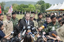 UTAPAO, Thailand (Feb. 14, 2017) – U.S. Ambassador to the Kingdom of Thailand Glyn Davies answers questions from media at a press conference during the official opening ceremony of Cobra Gold 2017. Cobra Gold, in its 36th iteration, is the largest Theater Security Cooperation exercise in the Indo-Asia-Pacific. This year's focus is to advance regional security and ensure effective responses to regional crises by bringing together a robust multinational force to address shared goals and security commitments in the Indo-Asia-Pacific region. (U.S. Navy photo by Mass Communication Specialist 2nd Class Markus Castaneda/Released)