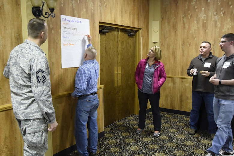 114th Fighter Wing service members and their family members take on 4-lenses training as part of pre-deployment preparations at the Ramkota Hotel in Sioux Falls, S.D., Feb. 4, 2017. More than 120 members from the 114th Fighter Wing attended Yellow Ribbon Reintegration Program events which promote the well-being of National Guard and Reserve members, their families and communities by connecting them with local resources during the deployment cycle. (U.S. Air National Guard photo by Staff Sgt. Luke Olson/Released)